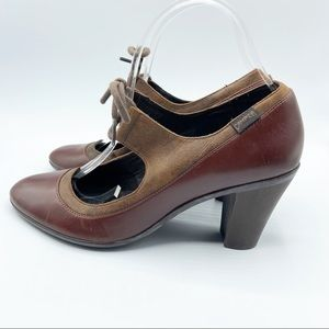 Camper Brown Leather Mary Jane Heels Bow Spain 39
